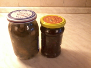 The cranberry with pear jam ( sor t of) and wild mushrooms in vinegar- the most delicious thing;)